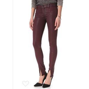 J Brand burgundy coated skinny jeans